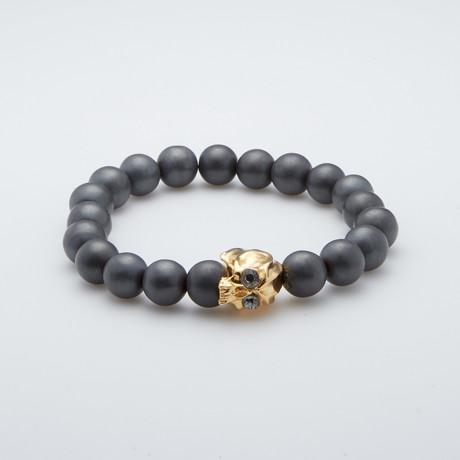 Bead Bracelet // Skull + Matte Hematite