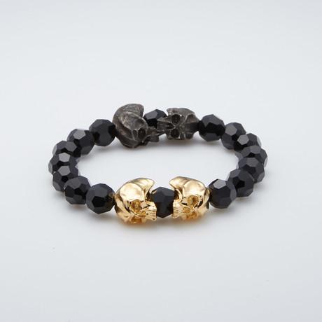 Bead Bracelet // Skulls + Crystal
