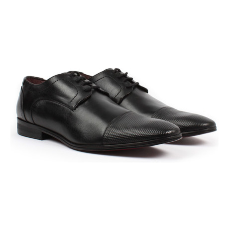 Textured Cap-Toe Derby // Black (US: 6)