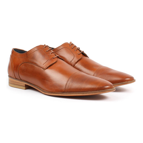 Textured Cap-Toe Derby // Tan (US: 6)