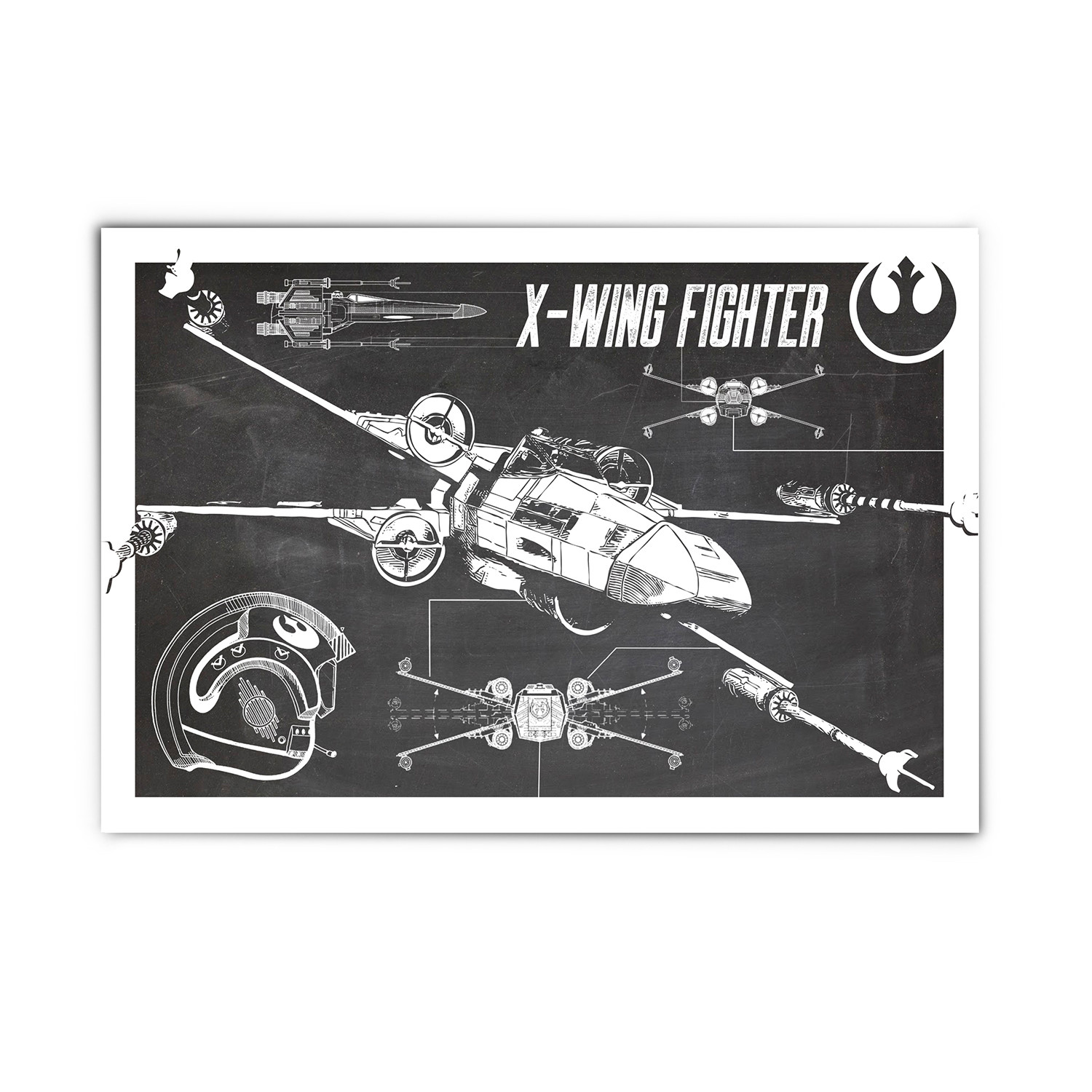 X wing blueprint 13w x 19h media graffiti studio touch of x wing blueprint 13w x malvernweather Images
