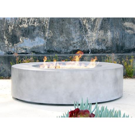 Santiago Round Cast Concrete Fire Pit Table