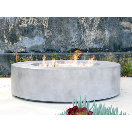 Santiago Round Cast Concrete Fire Pit Table