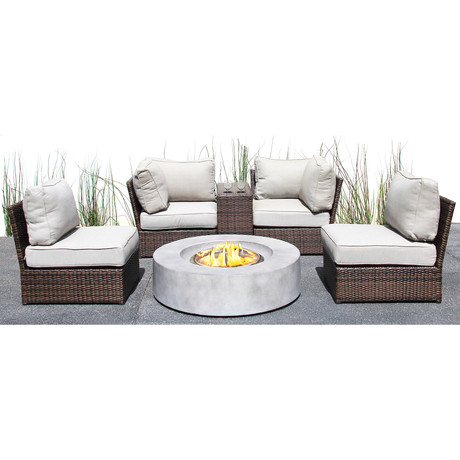 Manchester Cup Table Fire Pit // Espresso + Natural // 6 Piece Set