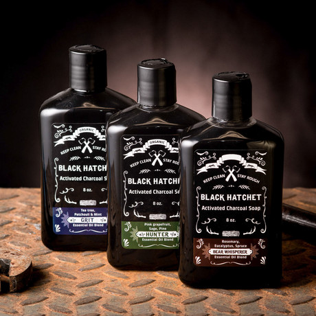 Activated Charcoal Body Wash - Set of 3