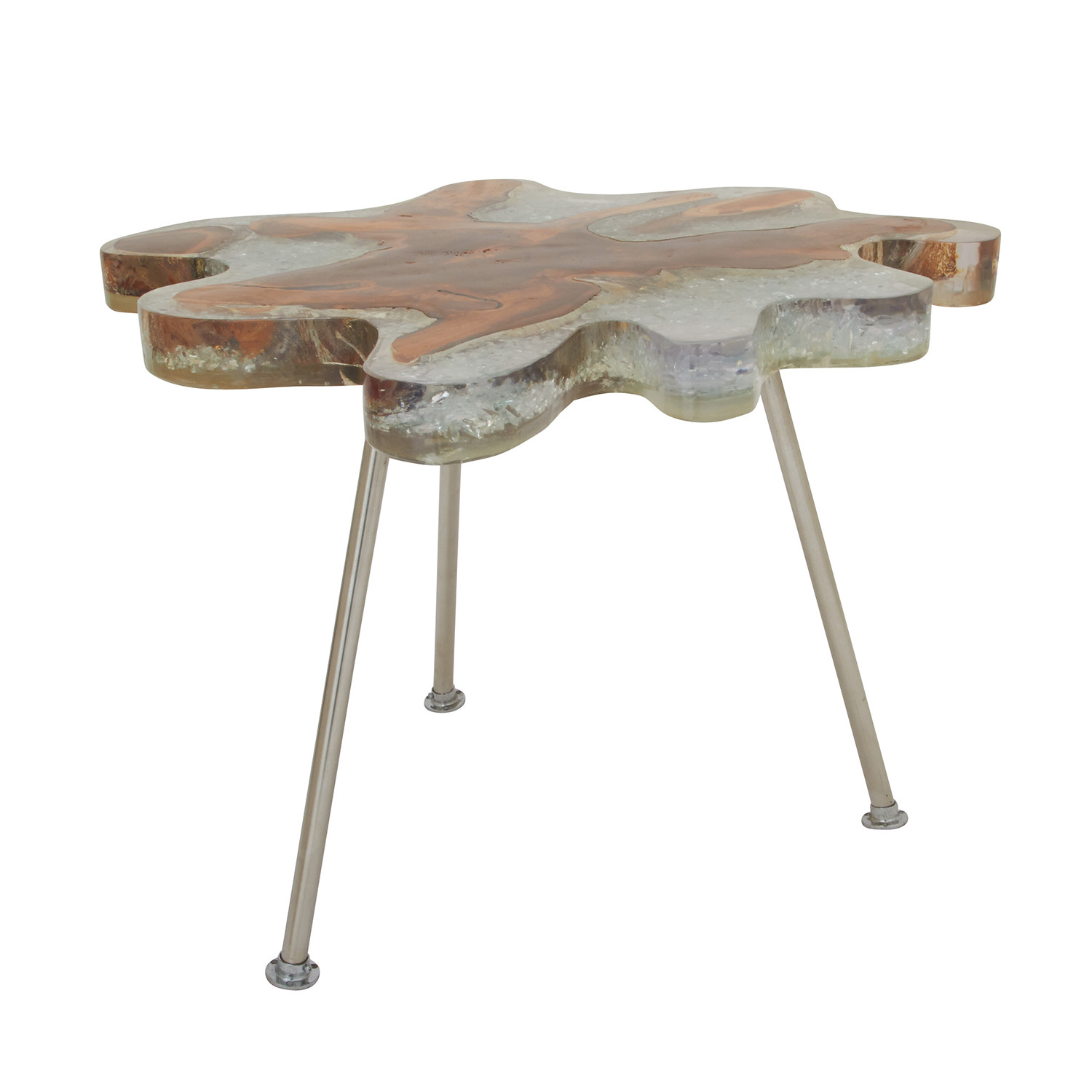 Teak Resin Stainless Steel Accent Table