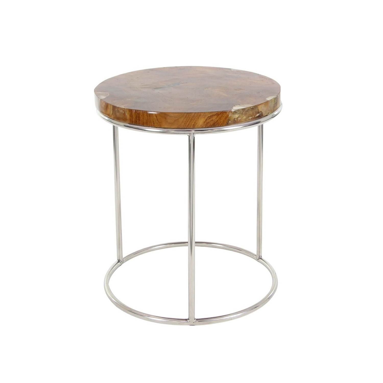 Stainless Steel Teak Side Tables Set Of 2 Universal