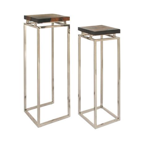 Teak Aluminum Resin Pedestals // Set of 2