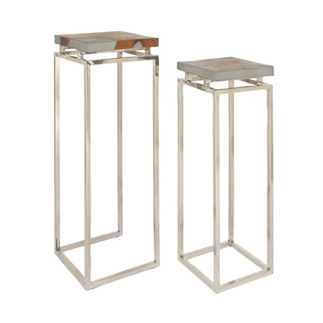 Aluminum Modern Teak Pedestals // Set of 2