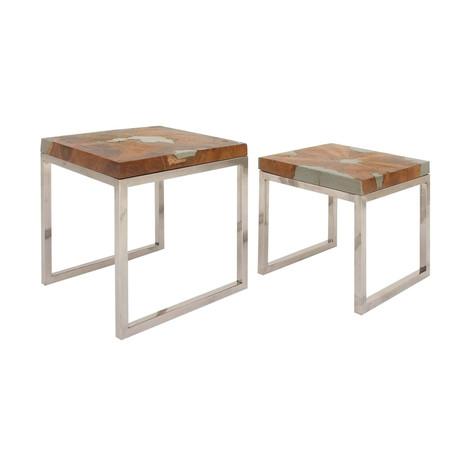 Square Shaped Modern Elegant Pair Teak Tables