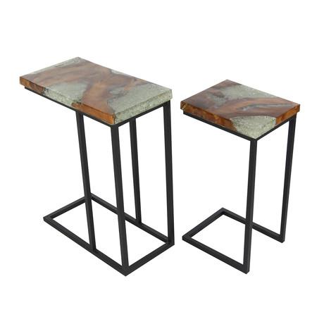 Teak Metal Resin Tables // Set of 2