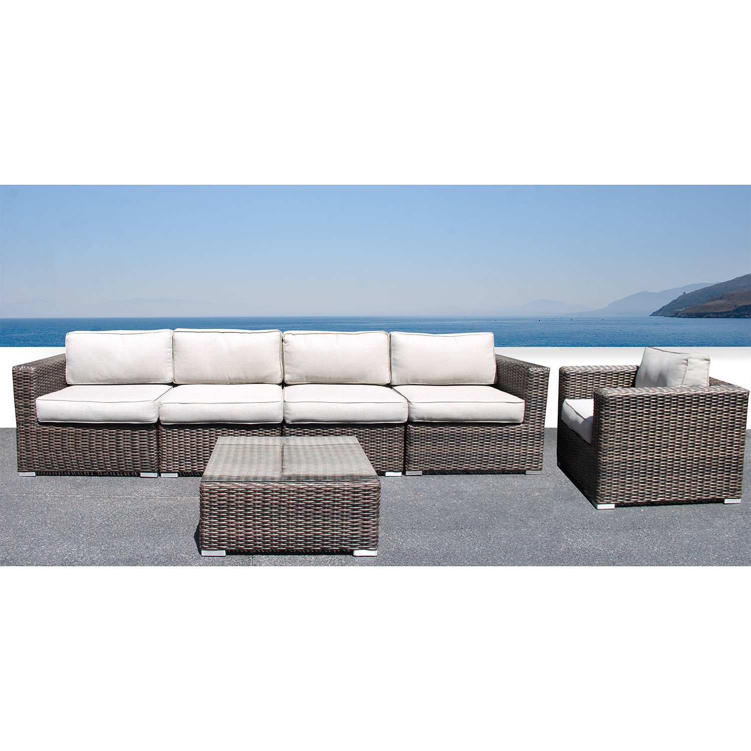 Marbella sofa club 6 piece set century modern touch for Sofa exterior marbella