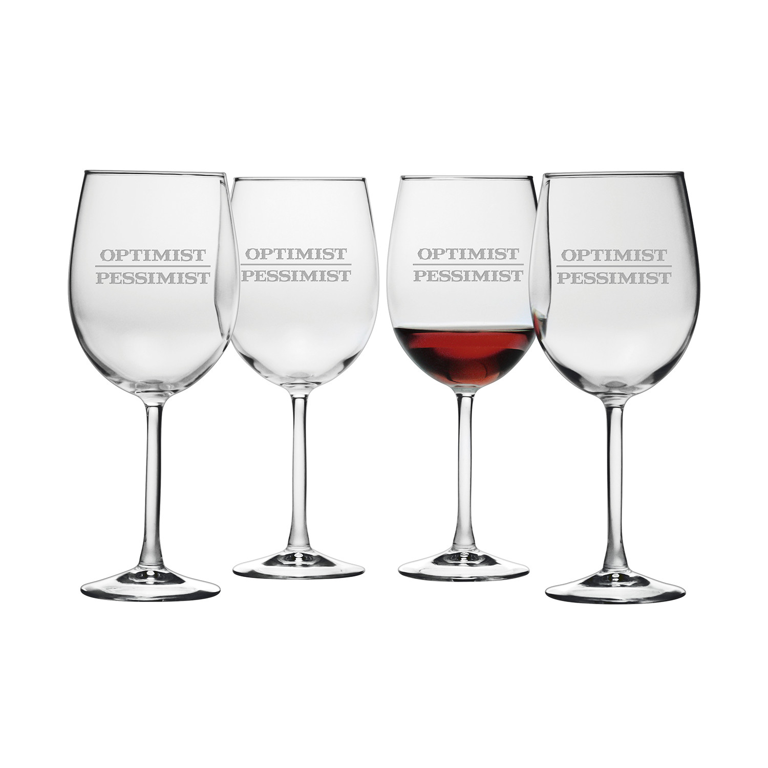 Optimist pessimist stemless wine glasses set of 4 susquehanna glass touch of modern - Stemless wine goblets ...