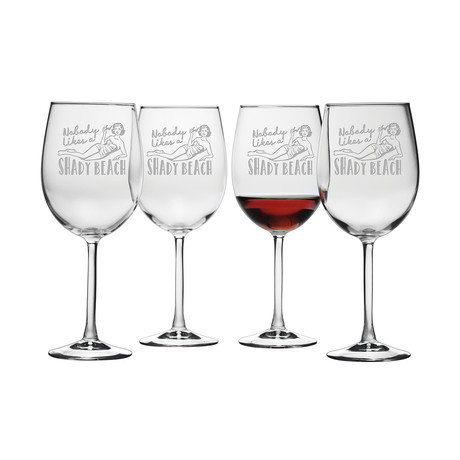 Shady Beach (Stemless Wine Glasses // Set of 4)