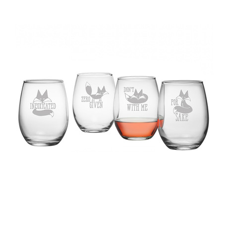 Stemless Wine Glasses // InFOXicated // Set of 4