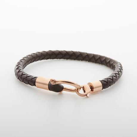 Jean Claude Jewelry // D Clamp Leather Bracelet // Dark Brown + Rose Gold