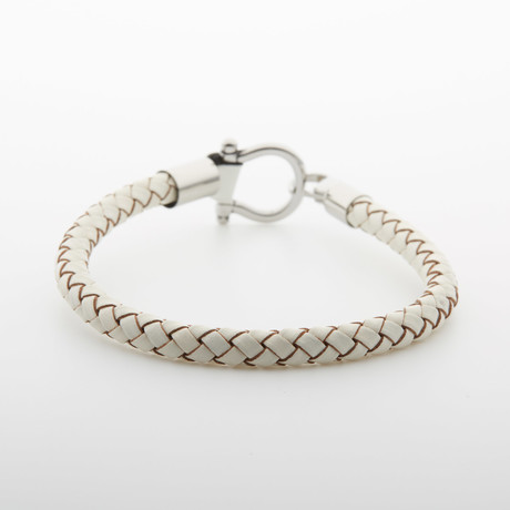 "Jean Claude Jewelry // ""D"" Clamp Bracelet (White + Silver)"