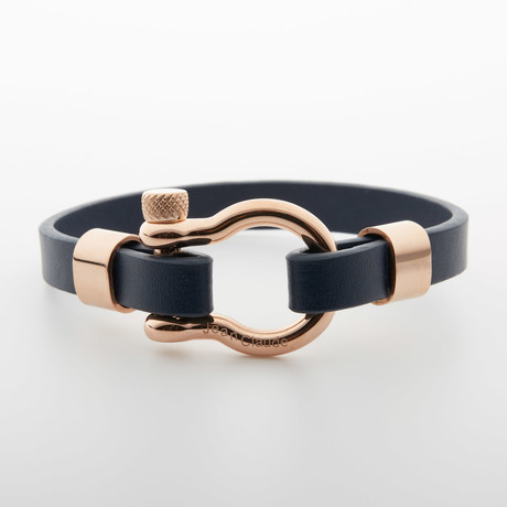 """D"" Clamp Bracelet // Dark Blue + Rose Gold"