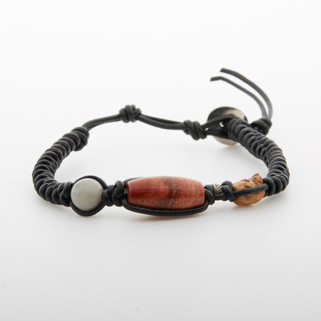 Stone Beaded Bracelet // Black + Red