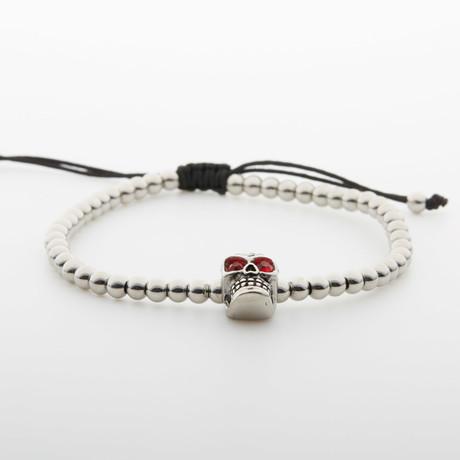 Swarovski Crystal Skull Head Bracelet // Silver