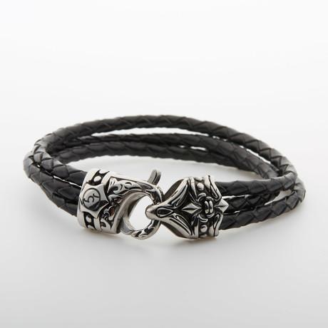 Multi-Layer Rope Engraved Closure Bracelet // Black