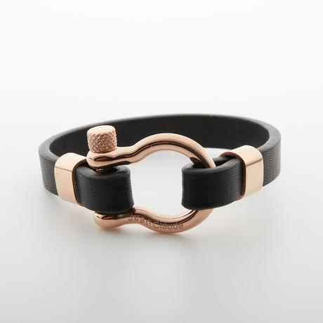 """""""D"""" Clamp Bracelet // Black + Rose Gold"""