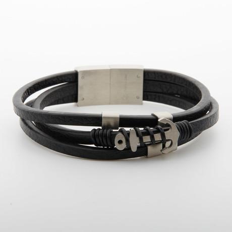 Dell Arte // Hook Charm Leather Wrap Bracelet // Black + Silver