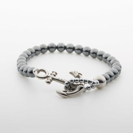 Hematite Beaded Bracelet // Silver