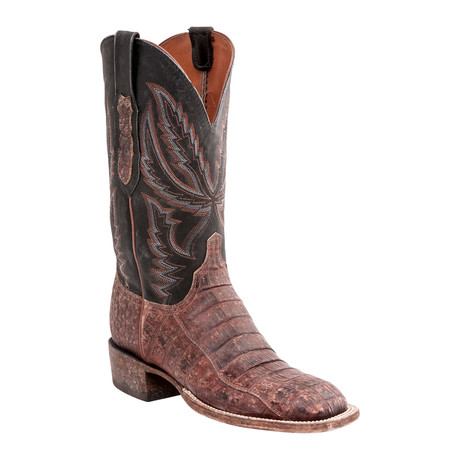 Caiman Crocodile Belly Tail Horseman Style Boot // Rust Belize (US: 8.5)
