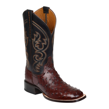 Full Quill Ostrich Horseman Style Boot // Sienna (US: 10.5)