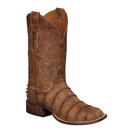 Giant American Alligator + Fish Horseman Style Boot // Chocolate