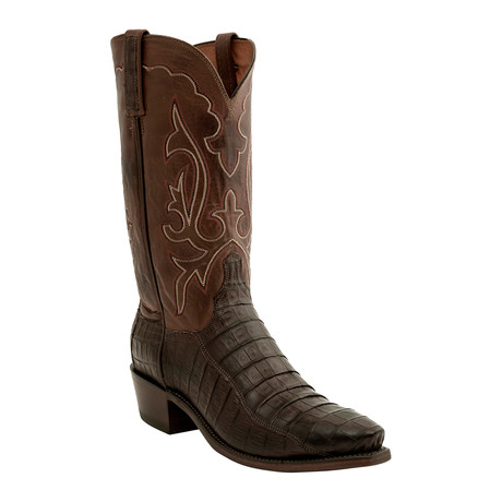 Ultra Belly Caiman Crocodile Belly Tail Western Boot // Brown (US: 9.5)