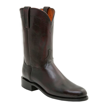 Cowhide Roper Style Boot // Black Cherry (US: 9.5)