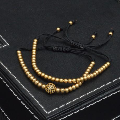 Metallic Bead + Cubic Zirconia Pull Closure Bracelet // Gold + Black // 2 Pack