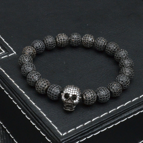 The All Star Cubic Zirconia Ball + Skull Bracelet // Black