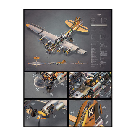 B-17 Exploded View Poster