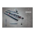 "USS Ohio Nuclear Submarine (11""W x 17""H)"