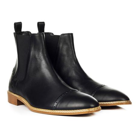 Captoe Brogue Chelsea Boot // Black