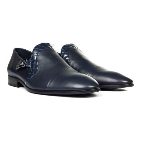 Contrast Trim Buckle Strap Captoe Loafer // Navy Blue