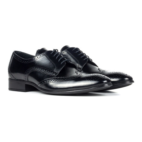 Leather Wingtip Full Brogue Derby // Black
