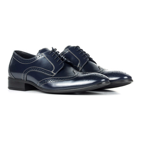 Contrast Stitched Leather Wingtip Full Brogue Derby // Black