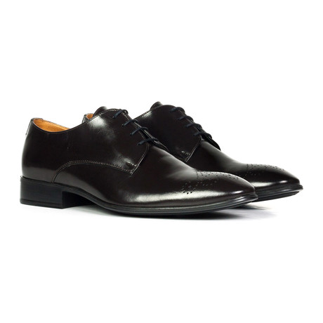 Shiny Perforated Toe Derby // Black