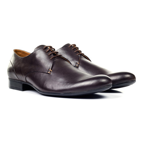 Shiny Plain Toe Derby // Brown