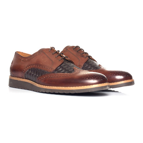 Woven Texture Full Brogue Wingtip Derby // Brown + Black