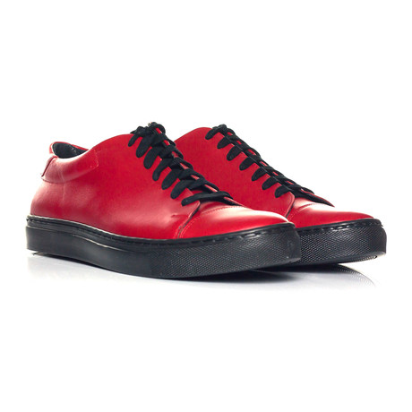 Solid Captoe Lace-Up Sneaker // Red