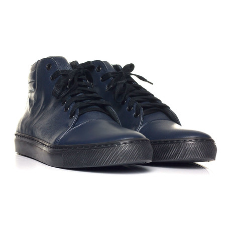 Captoe Lace-Up Hi-Top Sneaker // Navy