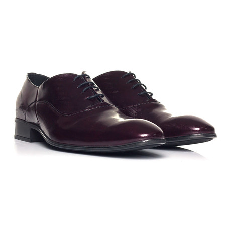 Patent Lace-Up Oxford // Crimson