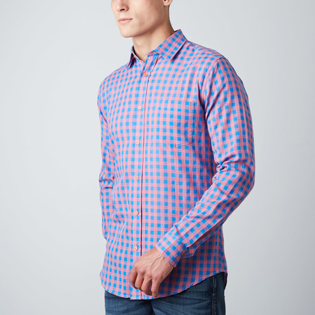 Greyson Check Button-Up // Pink + Blue