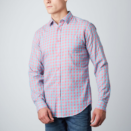 Greyson Check Button-Up // Pink + Teal (S)