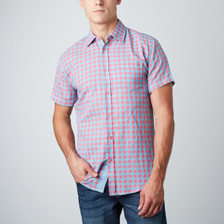 Jason Short-Sleeve Check Button-Up // Pink + Teal